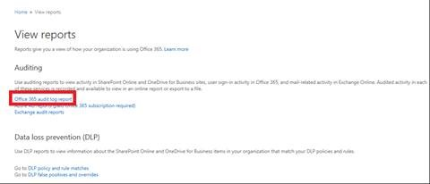Office 365 Protection Center Reports